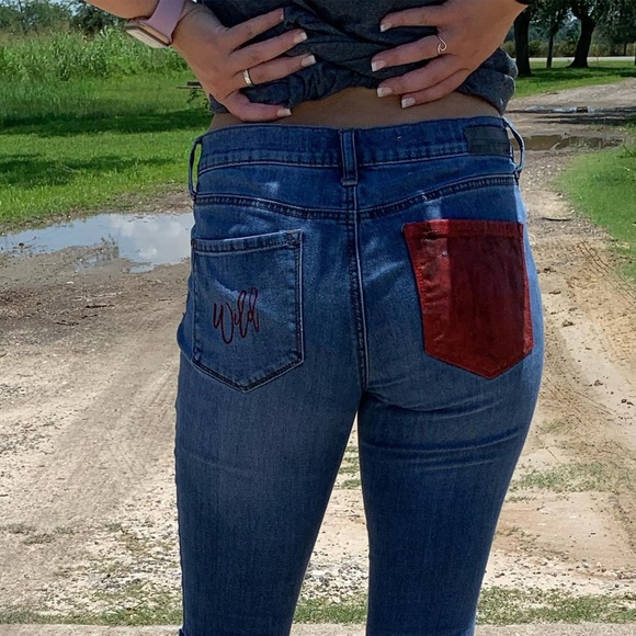 Denim - Size 4 self distressed and painted jeans